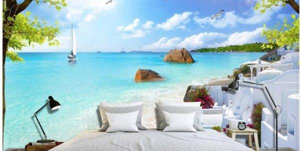 Fotomural playa paraiso en papel tapiz