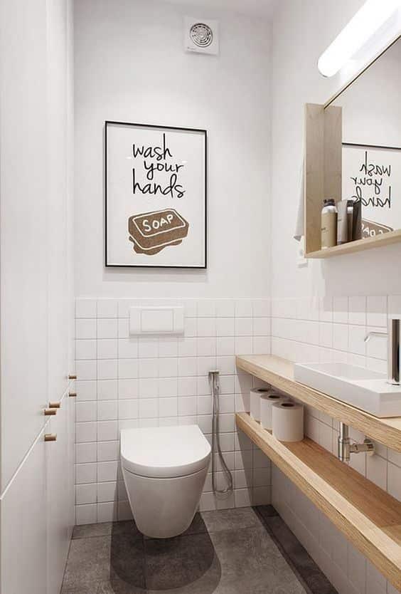 Lavabo sin muebles. Cuando hagas la remodelación de tu baño, piensa si no es mejor algo simple y minimalista