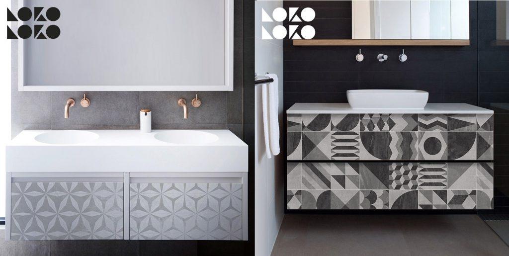 Muebles de baños transformados con vinilo