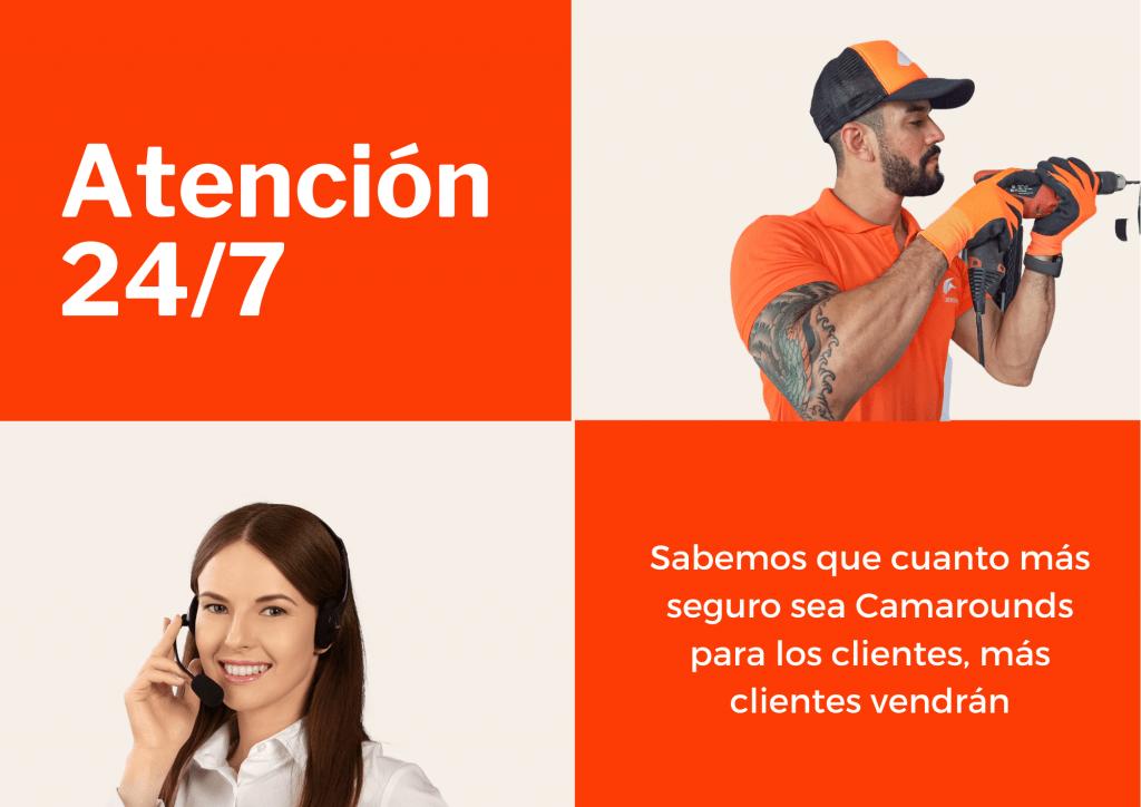 Para tu seguridad y tranquilidad, Camarounds ofrece atención al cliente 24 horas