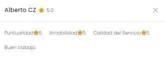 Humberto Oliveros - Calificación 5 Estrellas en la App de Camarounds