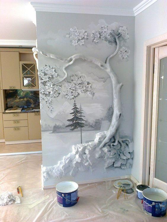 Separadores de ambiente con relieve y pintura artística