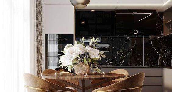 Lámparas pendulares en sala cocina