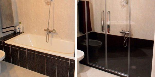 Antes y después - Cambio de bañera por un plato de ducha