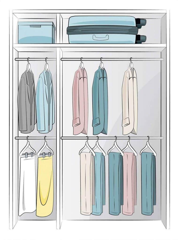 Utiliza dos barras para tu closet